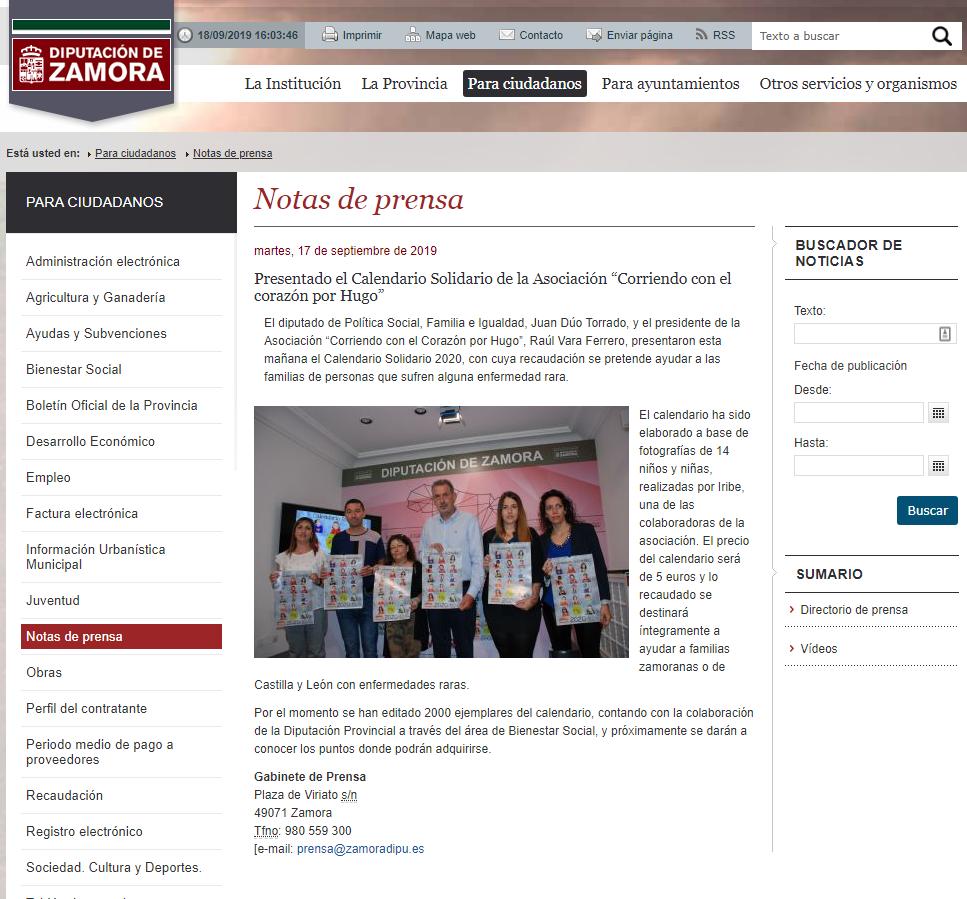 """Presentado el Calendario Solidario de la Asociación """"Corriendo con el corazón por Hugo"""""""